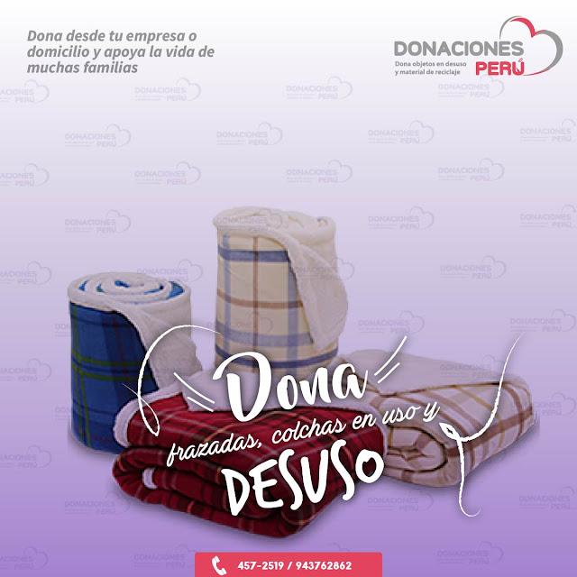 Dona frazadas - Dona colchas - Donaciones Perú