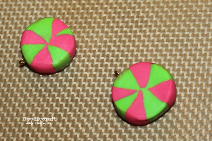Doodlecraft Peppermint Candy Kawaii Earrings