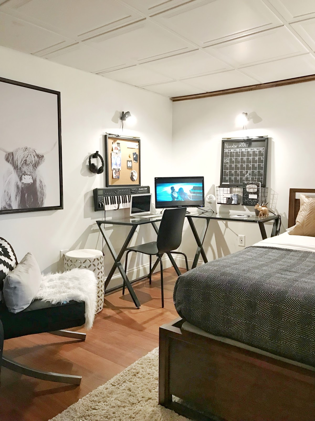 Made by Carli: Teen Boy's Basement Bedroom Reveal on Teenager Basement Bedroom  id=24291