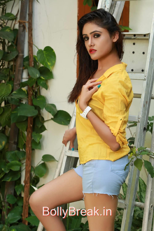 Sony Charishta Stills, Sony Charishta in Denim Shorts - Hot Photoshoot Images in Yellow Shirt