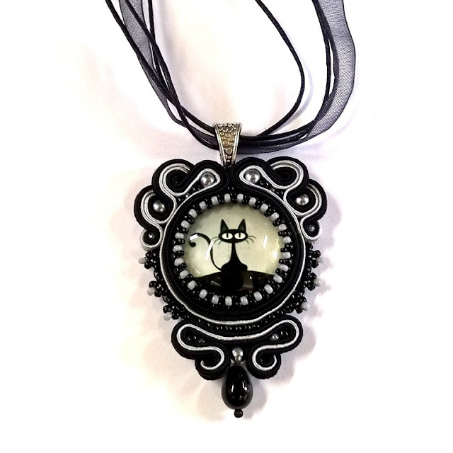 black cat soutache pendant