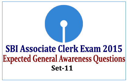 Expected General Awareness Questions for SBI Associate Clerk exams