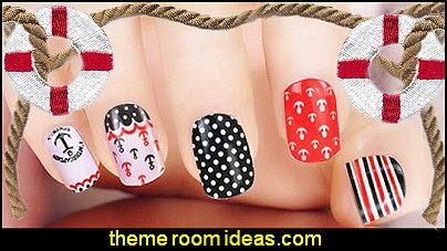 nautical nail stickers - nautical Nail Tips - nautical nail Wraps