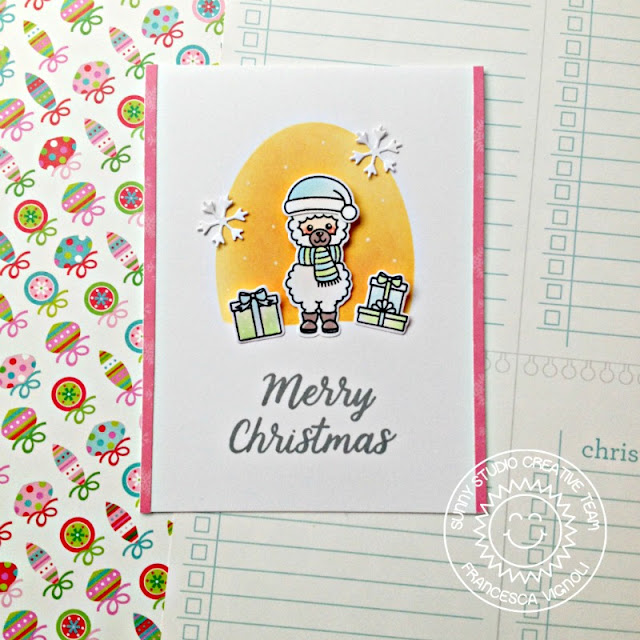Alpaca Holiday Christmas Trimmings Stitched Oval Dies Easy To Mail Christmas Cards by Franci Vignoli