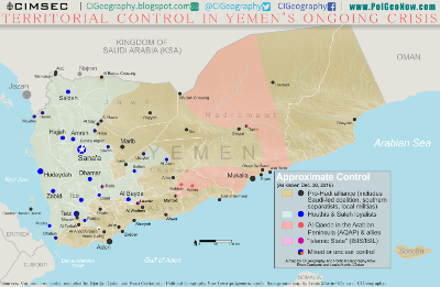Map of territorial control in Yemen's civil war (Saudi-backed Hadi government, Houthi rebels, Al Qaeda in the Arabian Peninsula (AQAP), Islamic State (ISIS/ISIL)