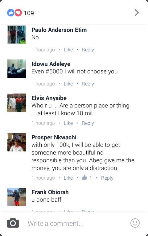 Which will you choose between me and N10m? Facebook users spoil girl's fun