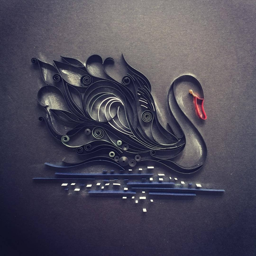 03-Black-Swan-Wing-Paper-Quilling-Art-Designs-www-designstack-co