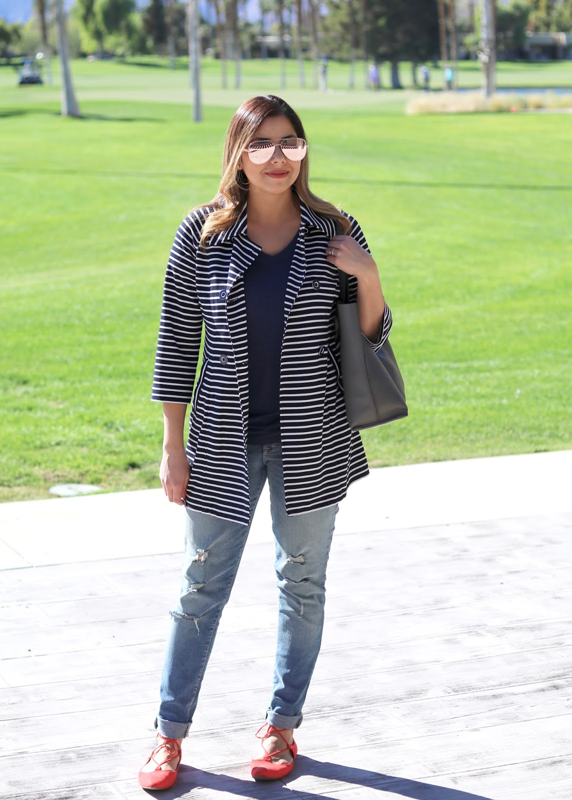 latina style blogger, striped outfit, cabi blogger
