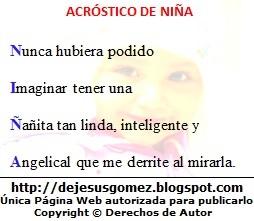 Imagen del acróstico de la palabra Niña con imagen de fondo de Jesus Gómez