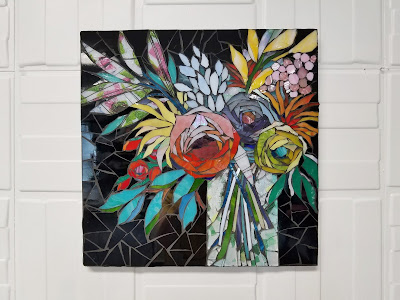 colorful mosaic flower art
