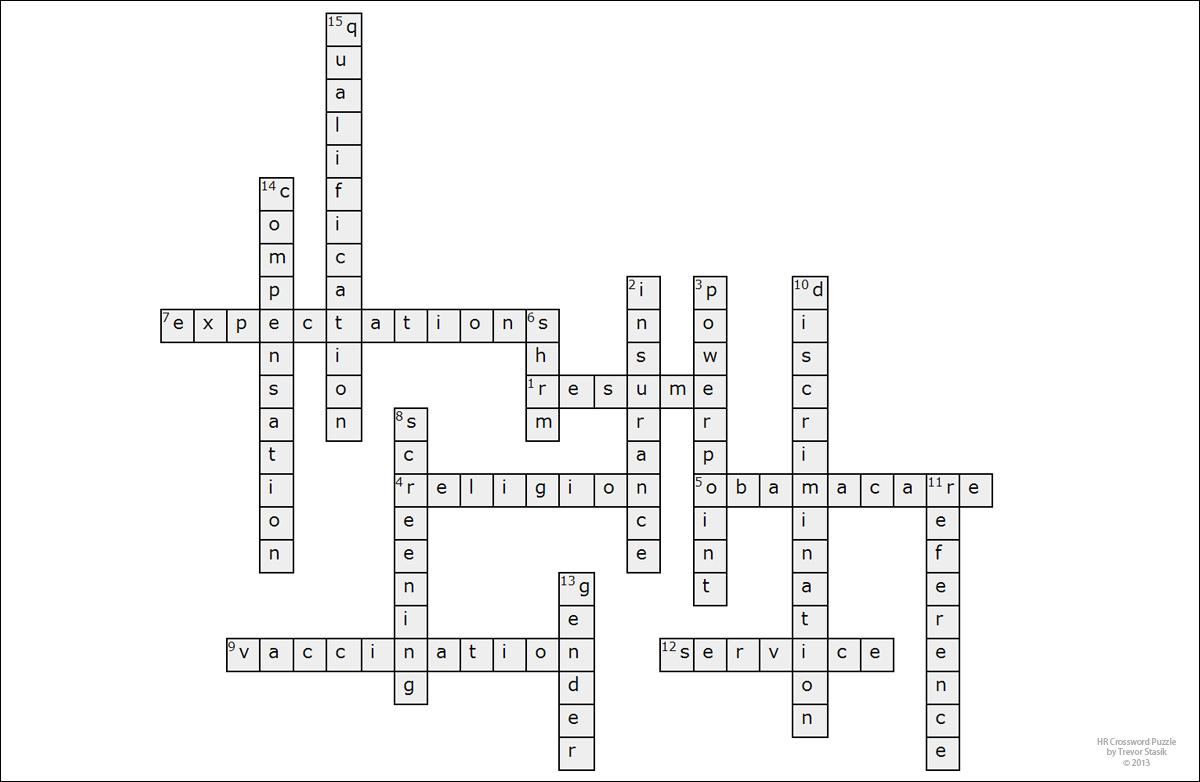 Trevor Stasik Blog Casual Friday Hr Crossword Puzzle