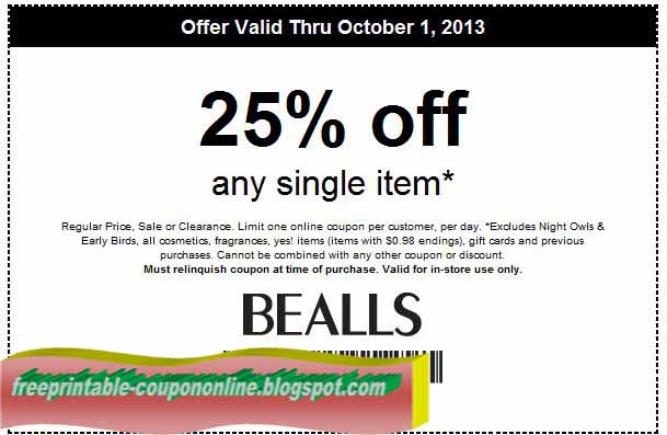 Bealls coupons printable 2018