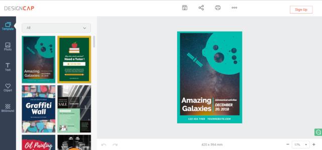 DesignCap poster/flyer maker screenshot