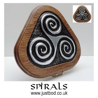 Spirals - Triple spiral wood & metal wall plaque