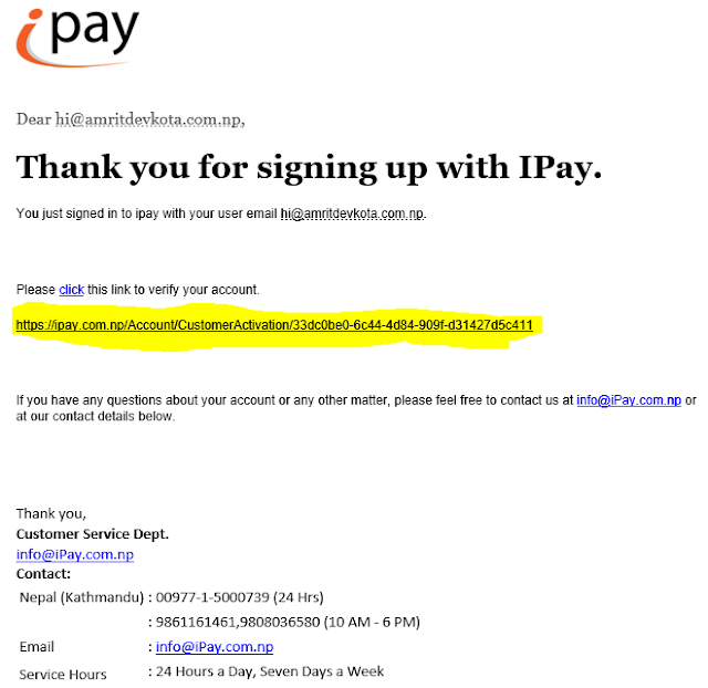 How to create account in iPay Nepal-- confirmation mail