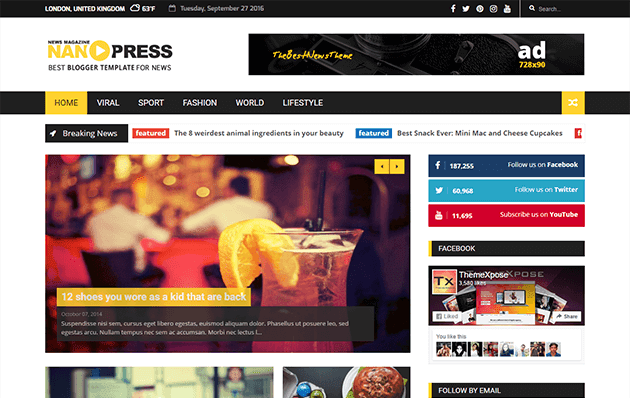 Nanopress Responsive Blogger Template Free Download | Free Download ...