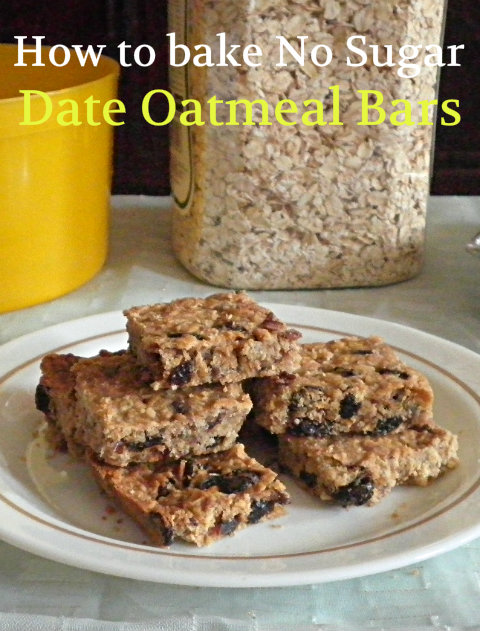How to bake no sugar date oatmeal bars  recipe @ http://treatntrick.blogspot.com
