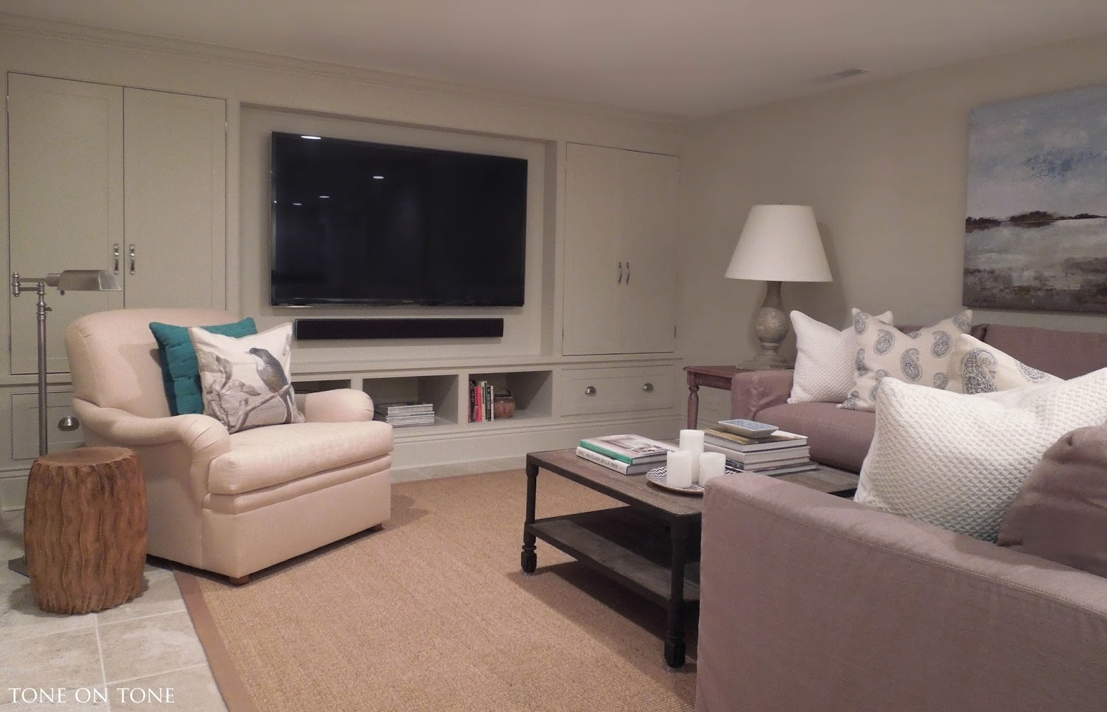 Basement tv room design - And Here Is Our Sitting Tv Room All Finished It Needed To Be Casual And Comfy Due To The Lack Of Sunlight A Palette Of Whites And Grays Would Ve Been