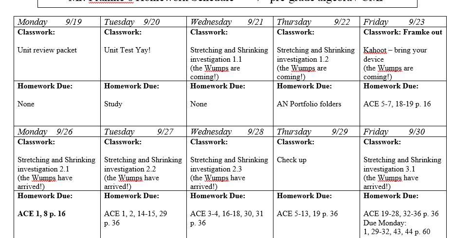 Heidemann 8th Grade Math: 5th Period Pre Algebra 10/7
