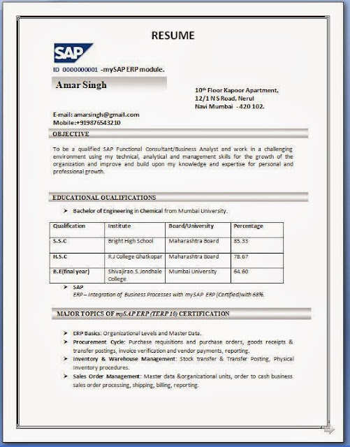 sap sd fresher sample resumes free download