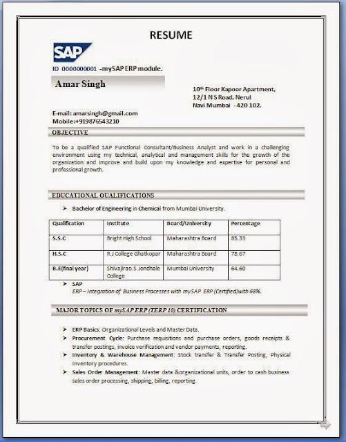resume ka format download