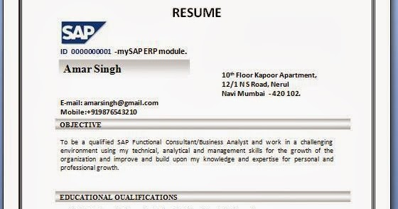 Sap sd resume format for Sample resume for sap fico consultant
