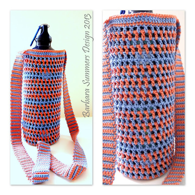 free crochet patterns, how to crochet, water bottle carrier, sling bag,