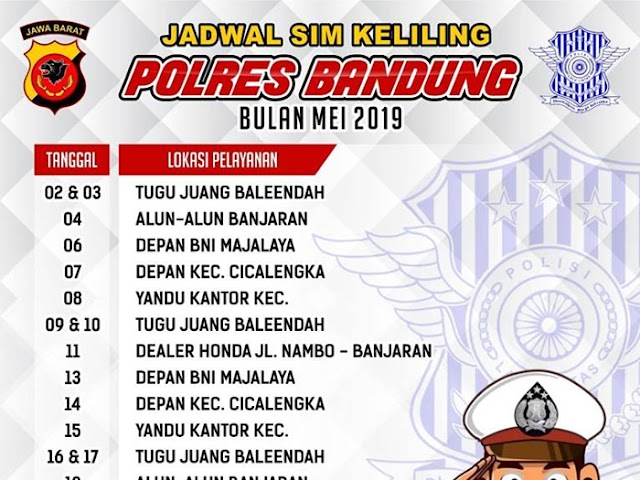 Jadwal SIM Keliling Polres Bandung Bulan Mei 2019
