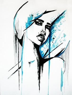 Pintura de mujer acuarela con dos colores
