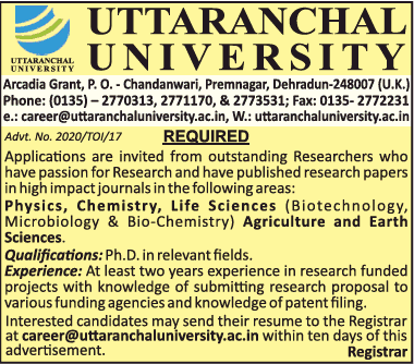 Uttaranchal University Faculty Jobs 2020 in Biochemistry/Biotech/Microbiology