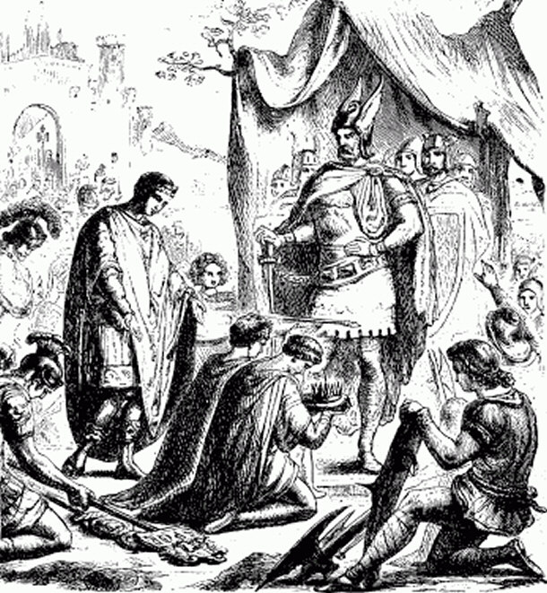 Romulus Augustus resigning the crown before Odovacar