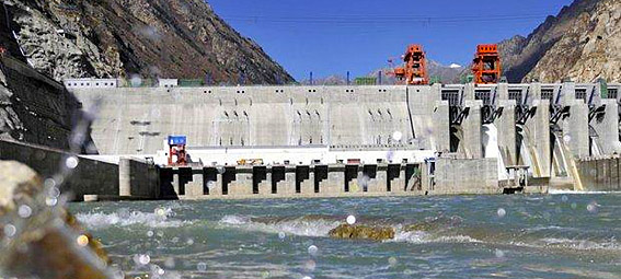 The Zangmu Hydropower Station on the Lhasa (Kyi Chu) River in Tibet.