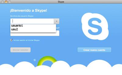 Ventana de login de Skype