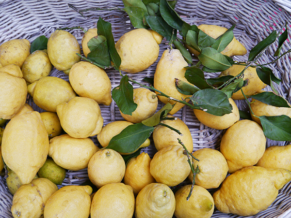 Local lemons in a basket in Monterosso al Mare, Cinque Terre, Italy