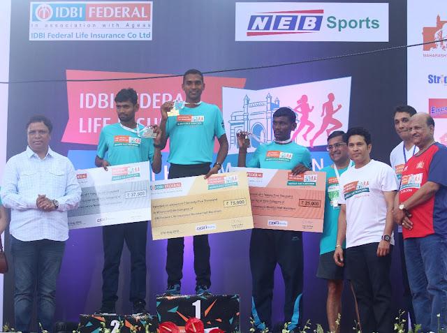 Pic 4 Ashish Shelar, MLA & President, Bharatiya Janata Party,Sachin Tendulkar, Face of the IDBI Federal Life Insurance Mumbai Half Marathon,Vighnesh Shahane, CEO, IDBI Feder