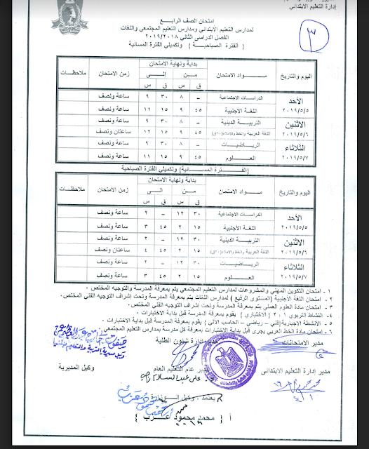 جدول امتحانات الصف الرابع الأبتدائي 2019 محافظة المنيا