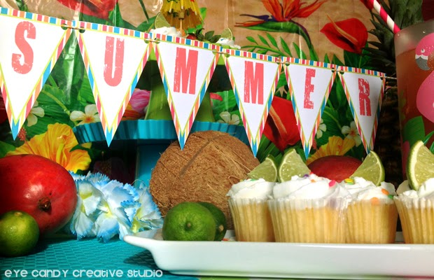 FREE download of summer banner, party banner, luau party tips, luau