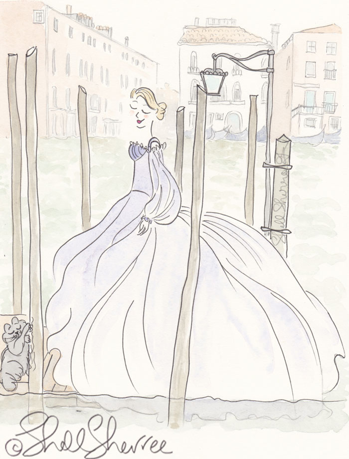 Venice fashion illustration: Sweeping Gown Steeping in Venice © Shell Sherree