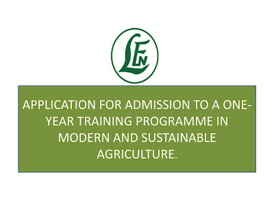 FREE TRAINING OPPORTUNITY IN MODERN AGRICULTURE