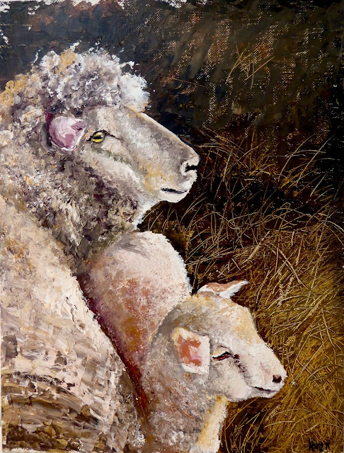 oil painting of sheep and lamb