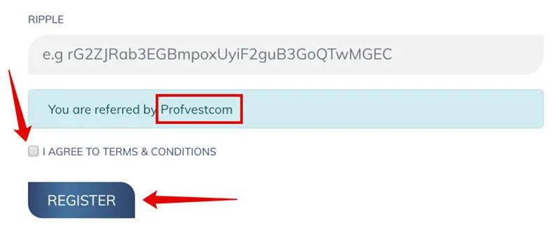 Регистрация в Forexina 3