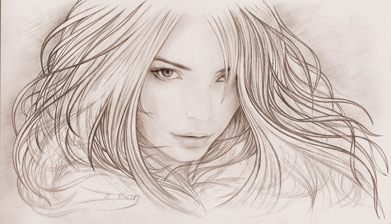 A cool pencil sketch of russian girl