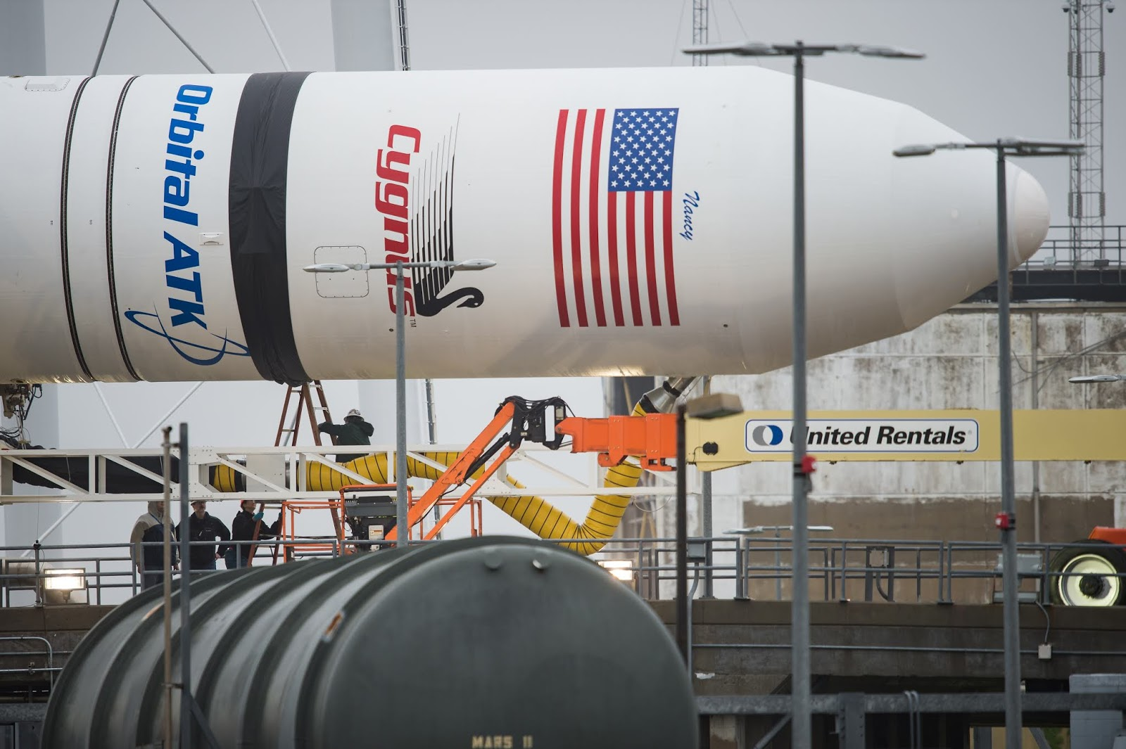 Image above Antares rocket arrival at Pad