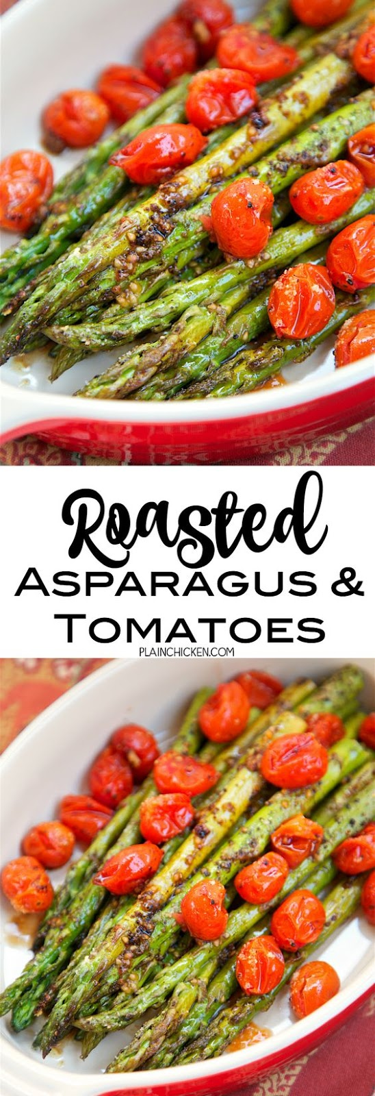 I don't know about you, but I am always looking for quick and easy side dishes. This recipe for Roasted Asparagus and Tomatoes is both quick and easy! It is also really delicious. It literally takes one minute to toss together and it is ready to eat in 15 minutes! LOVE!