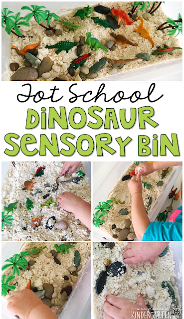 We LOVE this dinosaur cloud dough sensory bin. Cloud dough is so fluffy and fun to explore! Great for tot school, preschool, or even kindergarten!