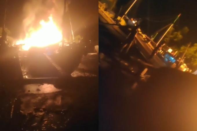 Kapal Terbakar di Pelabuhan 77 Kajuara, ABK Nyaris Terbakar