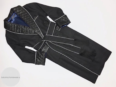 mens wool dressing gown robe warm heavy long classic black gentleman style housecoat