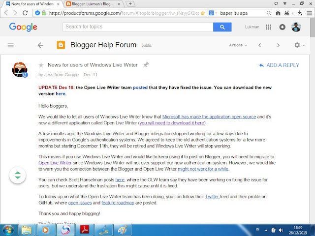 news for users of windows live writer - blogger forum