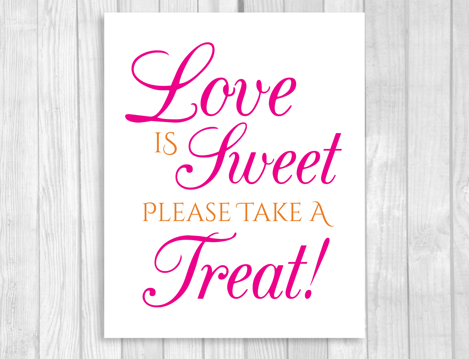 Hot Pink and Orange Printable Wedding Candy Buffet Signs