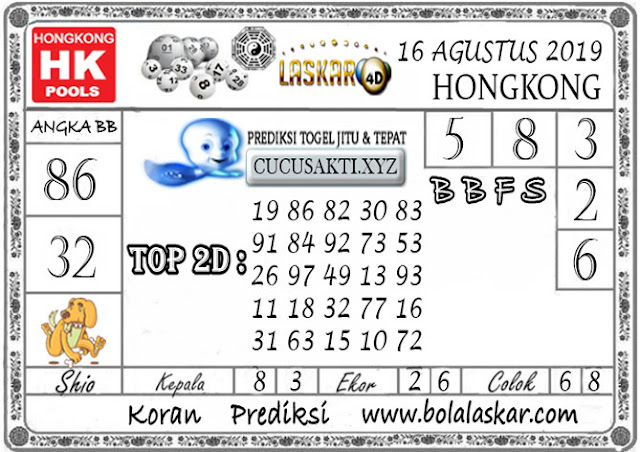 Prediksi Togel HONGKONG LASKAR4D 16 AGUSTUS 2019